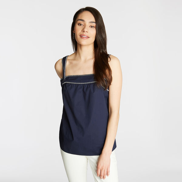 EMBROIDERED POPLIN TANK - Stellar Blue Heather