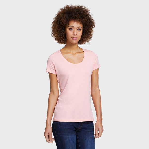 Scoop-Neck Solid T-Shirt - pink
