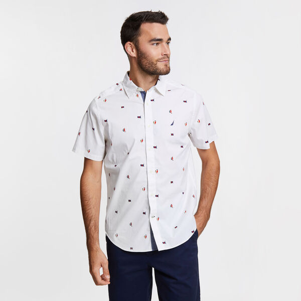 Classic Fit Stretch Short Sleeve in Sail Motif - Bright White