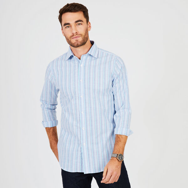 Multi-Stripe Classic Fit Long Sleeve Shirt - Union Blue