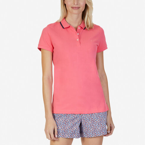Classic Fit Polo with Tipped Collar - Flame Red