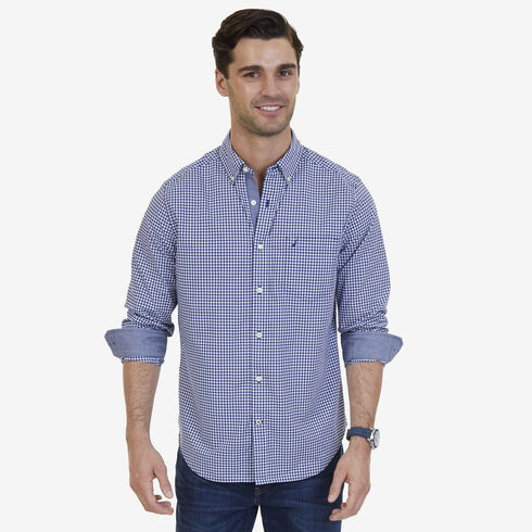 Gingham Poplin Classic Fit Long Sleeve Shirt - Monaco Blue