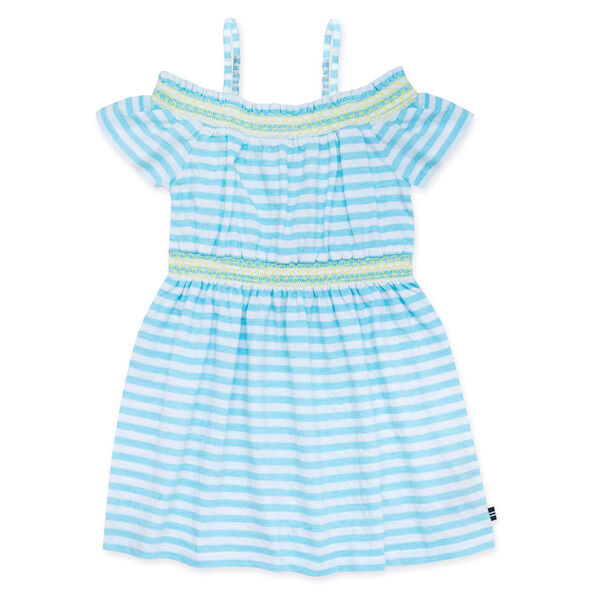 GIRLS' JERSEY DRESS IN TURQUOISE HERRINGBONE - Castaway Aqua