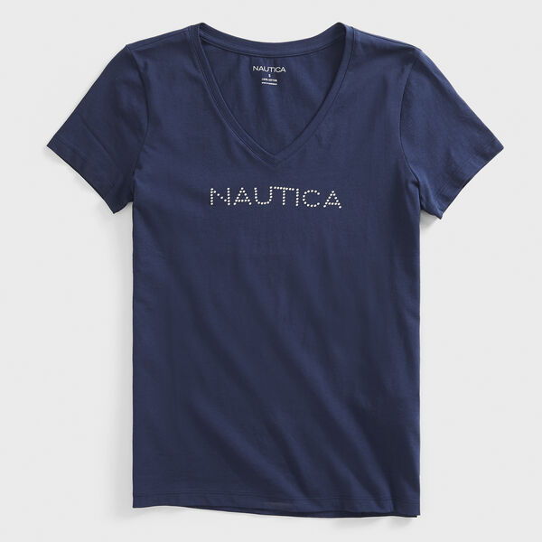 STUDDED LOGO V-NECK T-SHIRT - Stellar Blue Heather