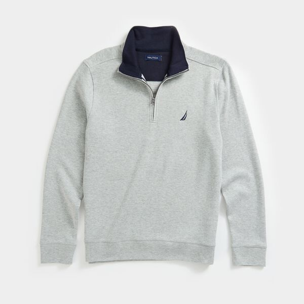 QUARTER-ZIP FRENCH RIBBED SWEATSHIRT - Grey Heather