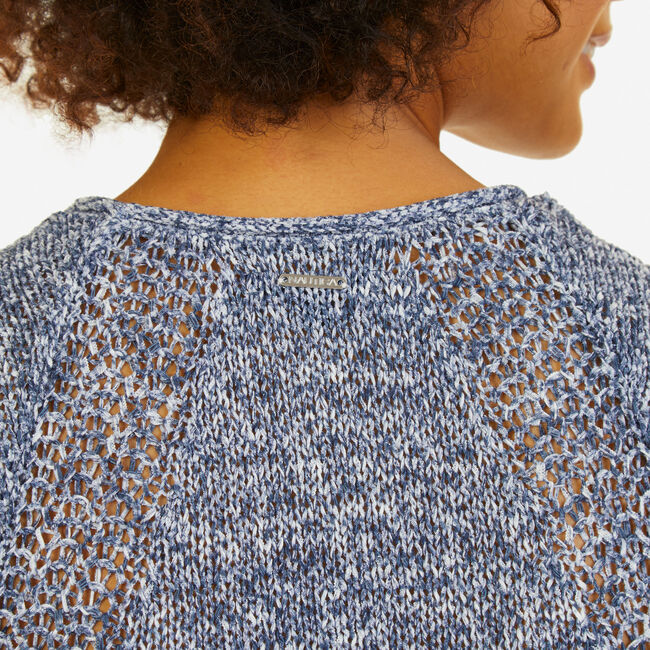 Marled Knit Scoop-Neck Top,Deep Sea,large