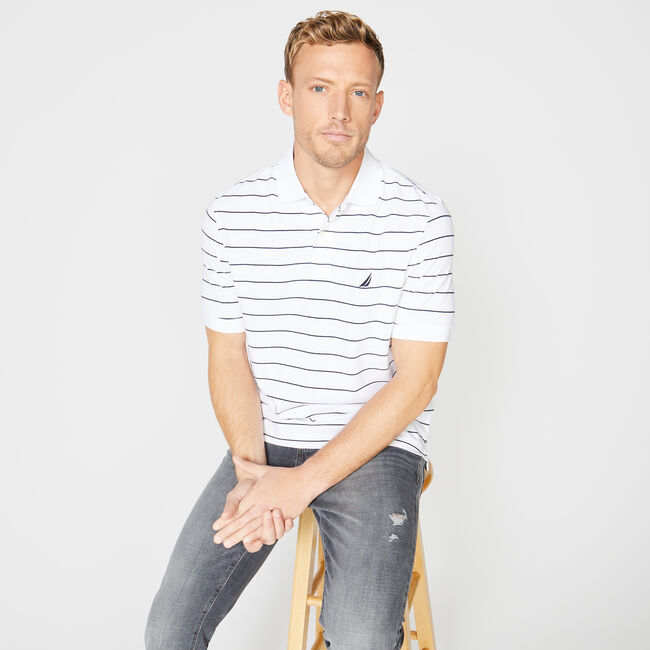 Classic Fit Mesh Polo in Breton Stripe,Bright White,large