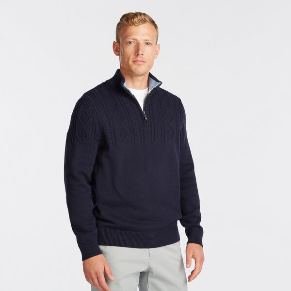 QUARTER-ZIP CABLE-KNIT SWEATER - Navy