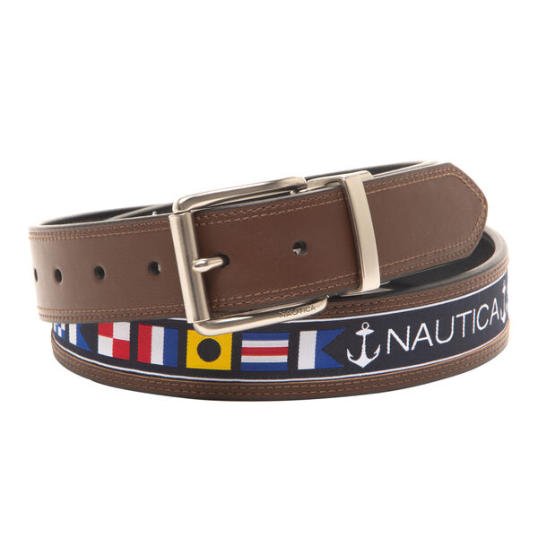 REVERSIBLE BELT IN FLAG PATTERN - Brown Stone