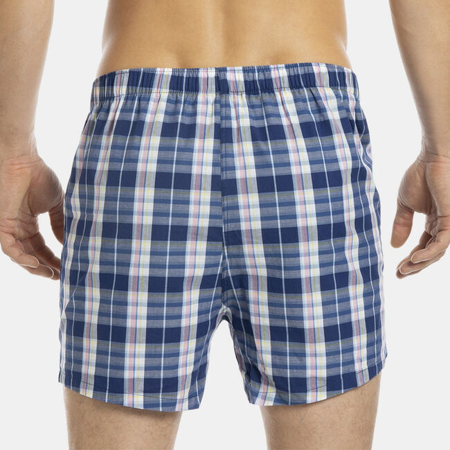 Woven Boxers in Blue Depths Plaid,New Pink,large