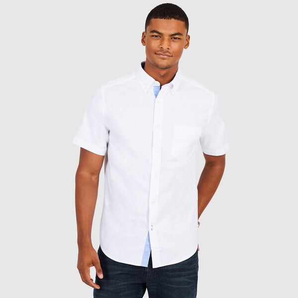 CLASSIC FIT STRETCH SHORT SLEEVE OXFORD SHIRT - Bright White