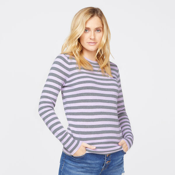 STRIPE CREW NECK LONG SLEEVE SWEATER - Castlerock Grey
