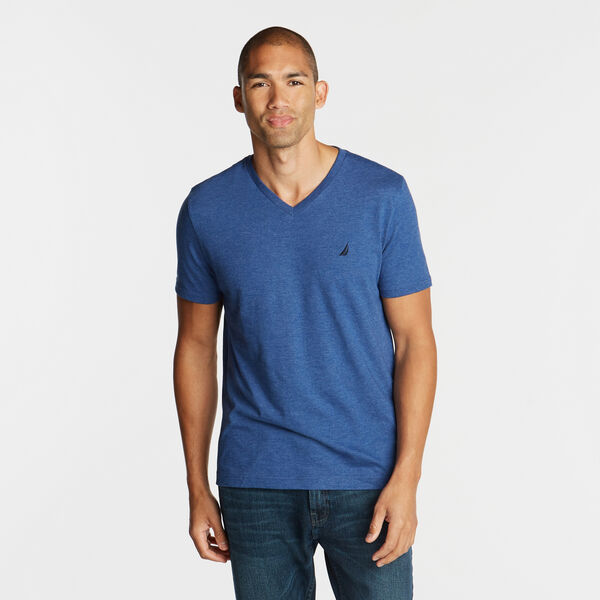 SOLID V-NECK SLIM FIT TEE - Stellar Blue Heather