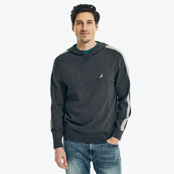 COLORBLOCK RIBBED PULLOVER HOODIE - Charcoal Heather