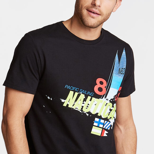 Classic Fit Crewneck T-Shirt in Pacific Sailing Graphic,True Black,large
