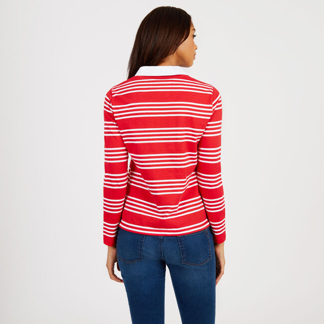 Rugby Stripe Long Sleeve Classic Fit Polo,Tomales Red,large