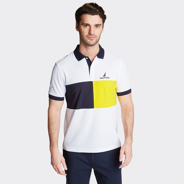 Classic Fit Colorblock Performance Polo - Bright White