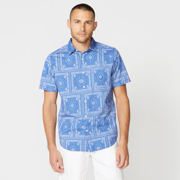 CLASSIC FIT BANDANA PRINT POPLIN SHIRT - Bolt Blue