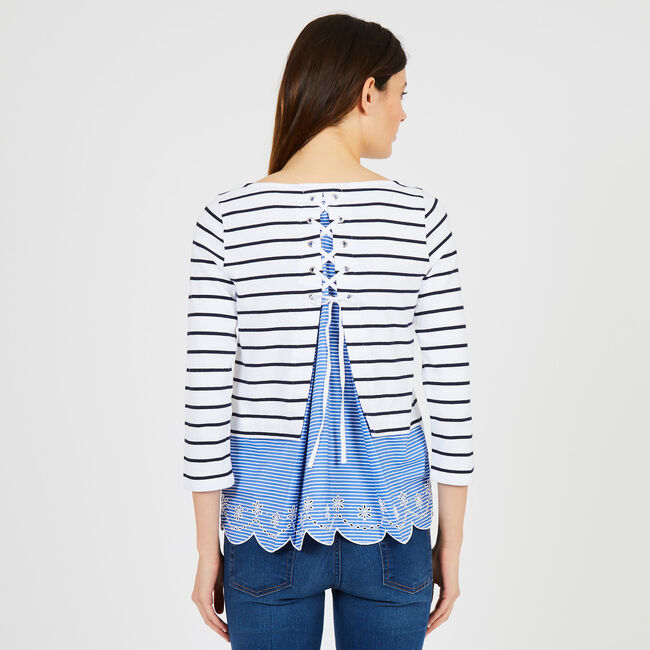 Striped Top with Scalloped-Edge,Bright White,large