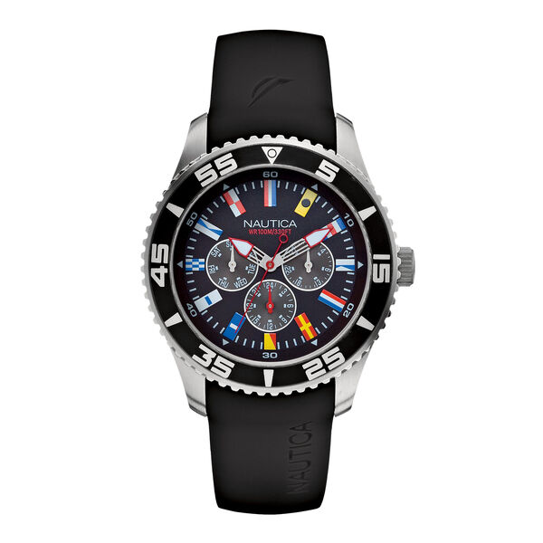 Resin Signal Flag Watch - Black - Multi