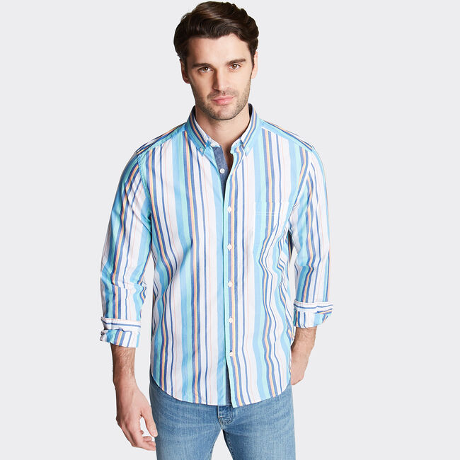 CLASSIC FIT BUTTON DOWN SHIRT IN STRIPE,Bright White,large