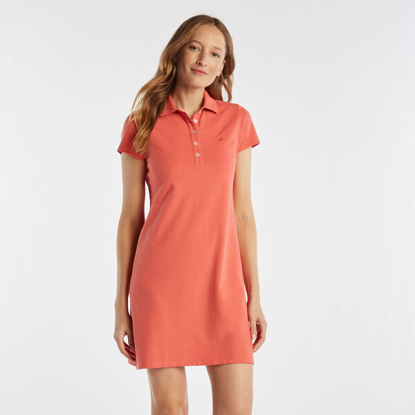 Short Sleeve Polo Dress - Spiced Coral