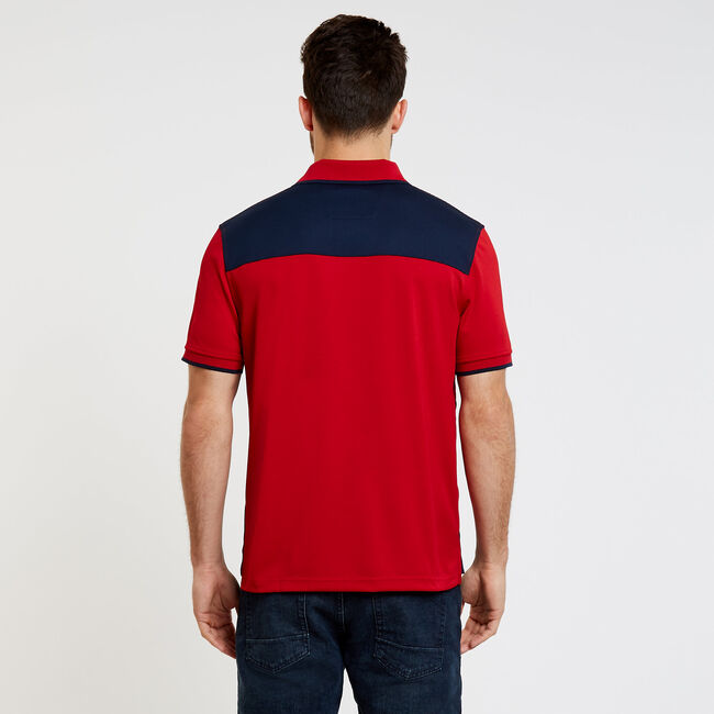 Classic Fit Colorblock + Stripe Performance Polo,Nautica Red,large