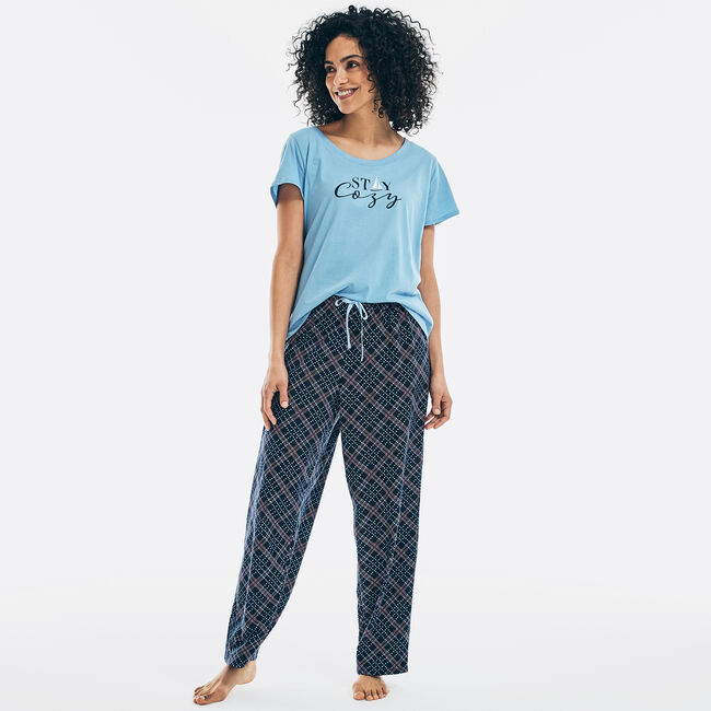 STAY COZY GRAPHIC SHORT SLEEVE PAJAMA SET,Rolling River Wash,large