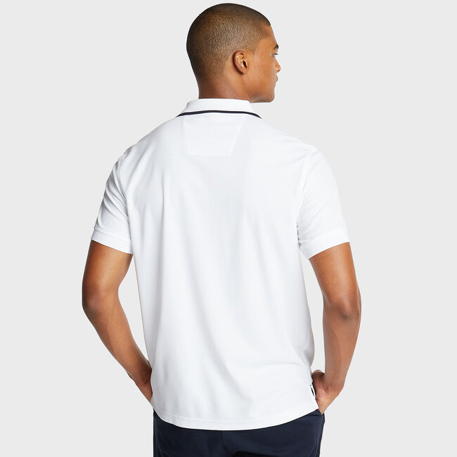 Classic Fit Colorblock Performance Polo,Bright White,large