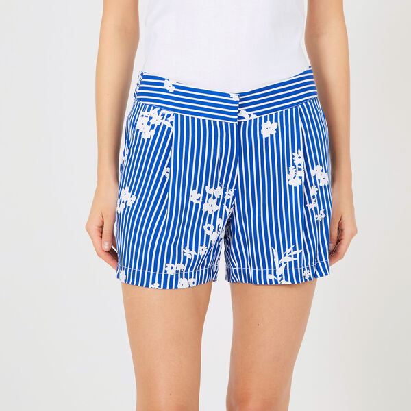 "Striped +  Floral Pleated Shorts - 5"" Inseam - Bright Cobalt"