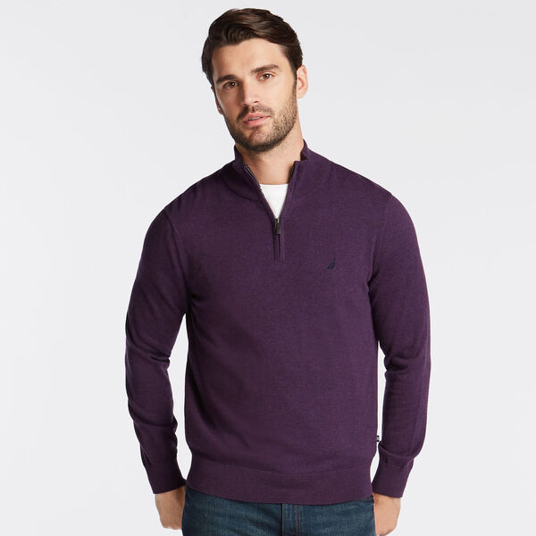 BIG & TALL QUARTER NAVTECH SWEATER - Blackberry Heather