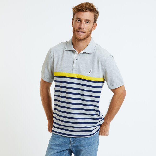 Striped Classic Fit Short Sleeve Performance Polo ,Grey Heather,large