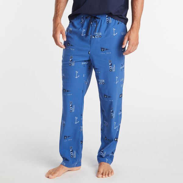 LOGO AND NAUTICAL FLAG PRINT SLEEP PANT - Windsurf Blue