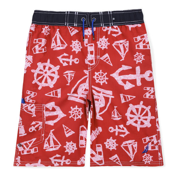 Boys' Nick Print Swim Trunks (8-20) - Island Pink