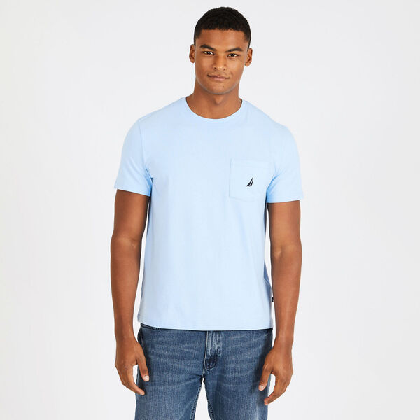 Short Sleeve Solid Pocket T-Shirt - Azure Blue