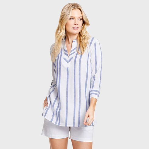 Shaw Yarn Dyed Stripe Tunic Cover-Up - Classic Blue