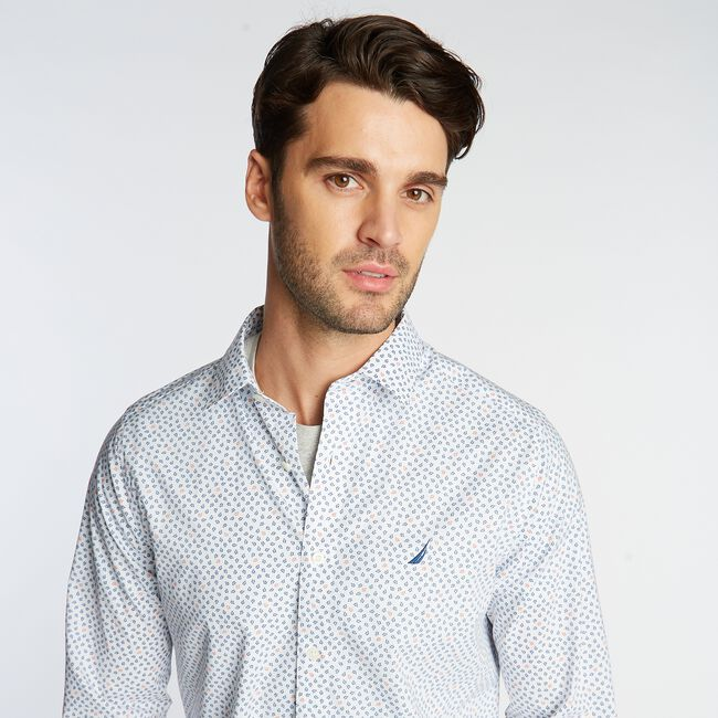 CLASSIC FIT WRINKLE-RESISTANT MINI FLORAL PRINT SHIRT,Bright White,large