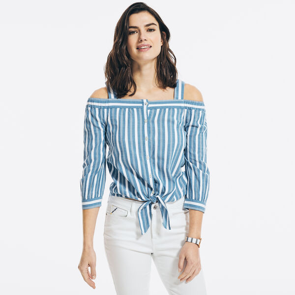 STRIPED COLD SHOULDER TIE-FRONT TOP - Bright White