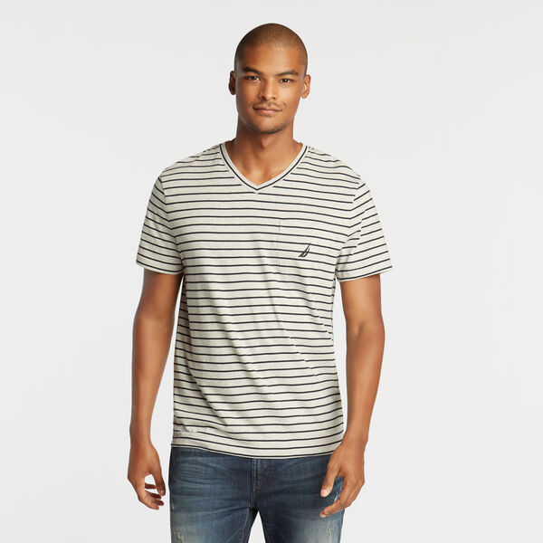 CLASSIC STRIPE V-NECK POCKET T-SHIRT - Grey Heather