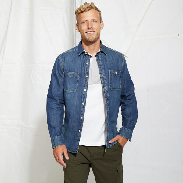 CLASSIC FIT DENIM SHIRT - Navy