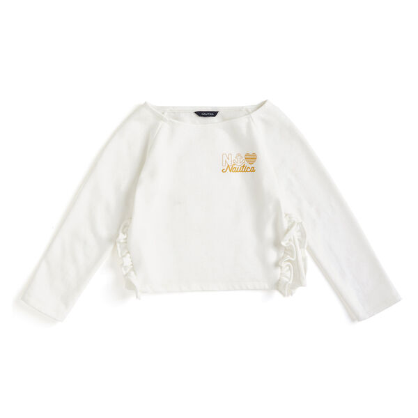 Girls' French Terry Logo Sweatshirt - Bright White