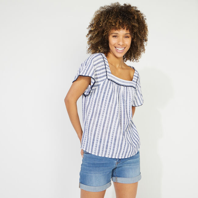 NAUTICA JEANS CO. EYELET STRIPED SQUARE NECK TOP,Deep Navy Heather,large
