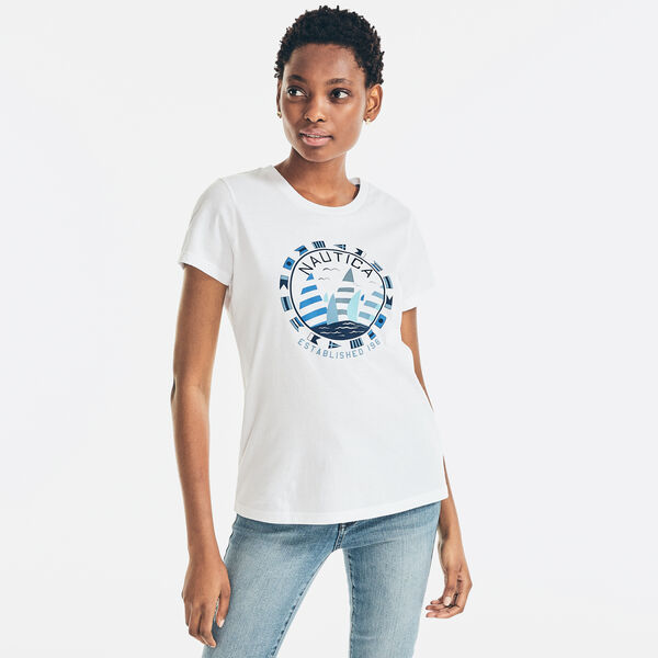 CIRCLE LOGO AND SAIL GRAPHIC T-SHIRT - Bright White