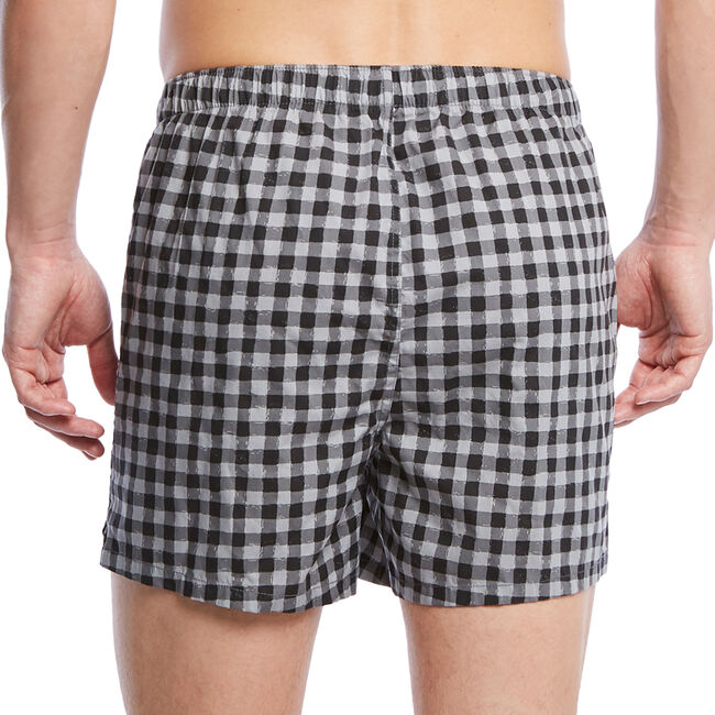 Gingham Woven Boxers,True Black,large