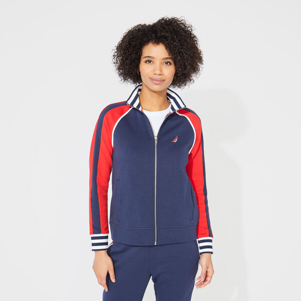 COLORBLOCK GRAPHIC ZIP SWEATSHIRT - Stellar Blue Heather