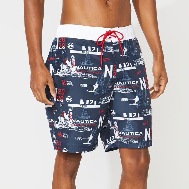 """8"""" COMPETITION PRINT QUICK-DRY SWIM,Navy,large"""