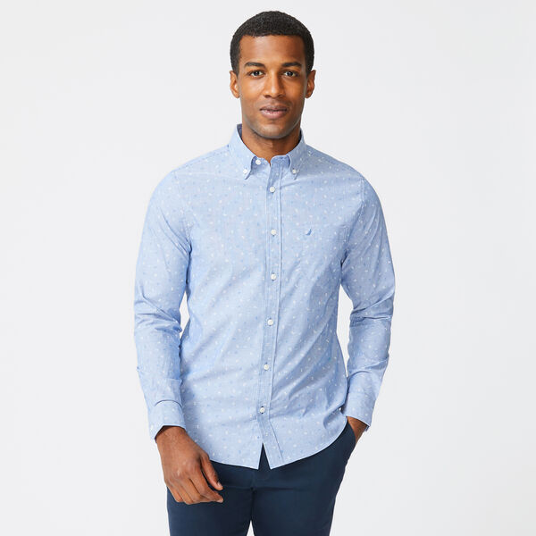 SLIM FIT WRINKLE-RESISTANT STRIPED ANCHOR SHIRT - Windsurf Blue