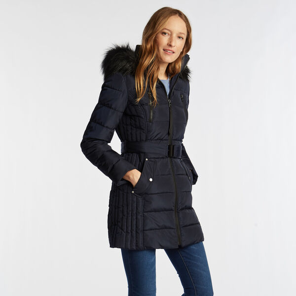 WOMEN'S QUILTED BELTED COAT - Stellar Blue Heather