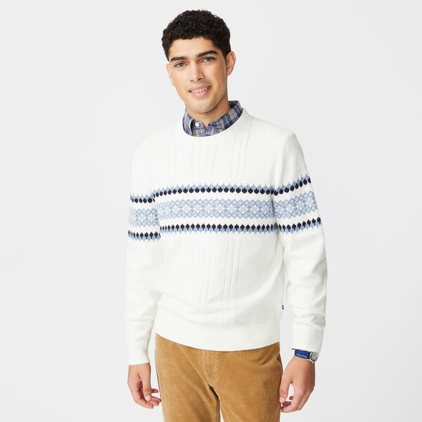 CLASSIC FIT FAIR ISLE PRINT KNIT SWEATER - Marshmallow