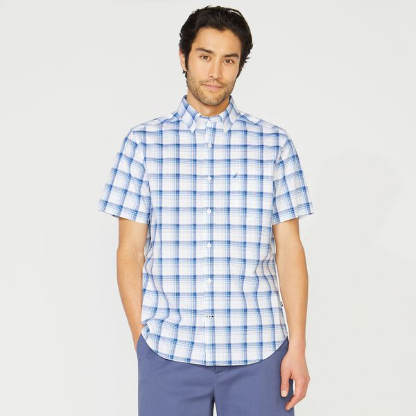 BIG & TALL CLASSIC FIT WRINKLE RESISTANT PLAID SHIRT - Bright White